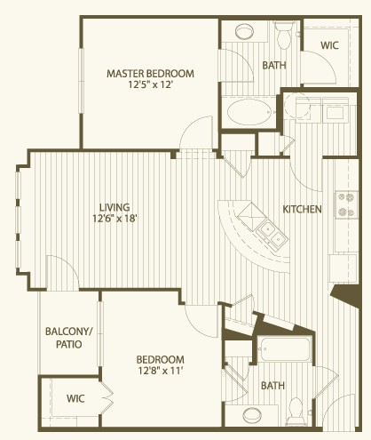 1,077 sq. ft. B2 floor plan