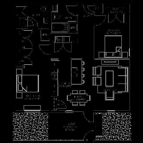 1,145 sq. ft. C floor plan