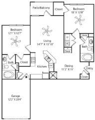 1,186 sq. ft. Garage floor plan