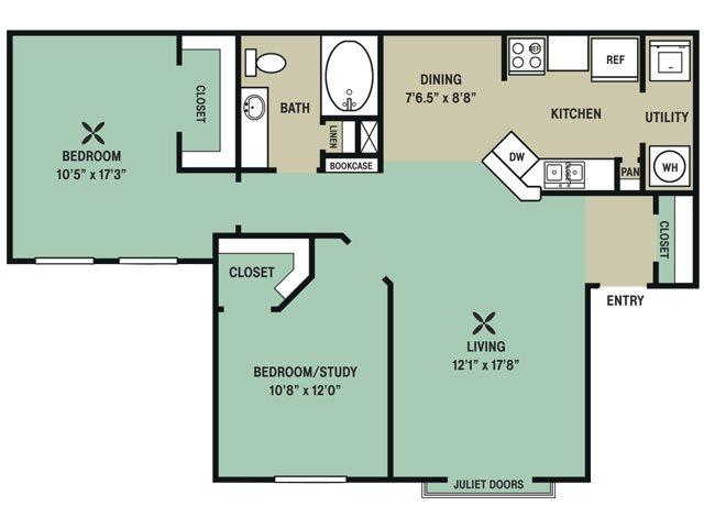 1,017 sq. ft. Barbaro floor plan