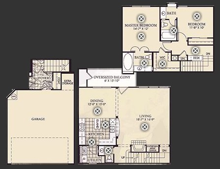 1,450 sq. ft. B4U floor plan