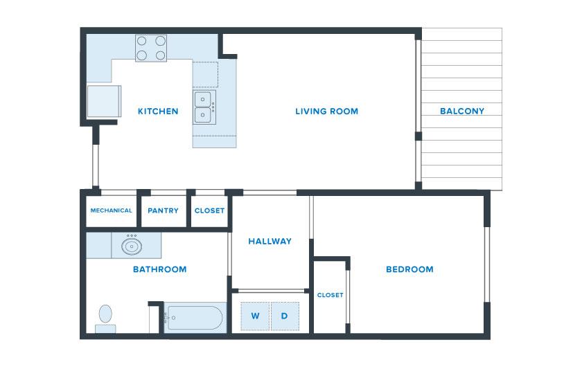 750 sq. ft. Independent floor plan