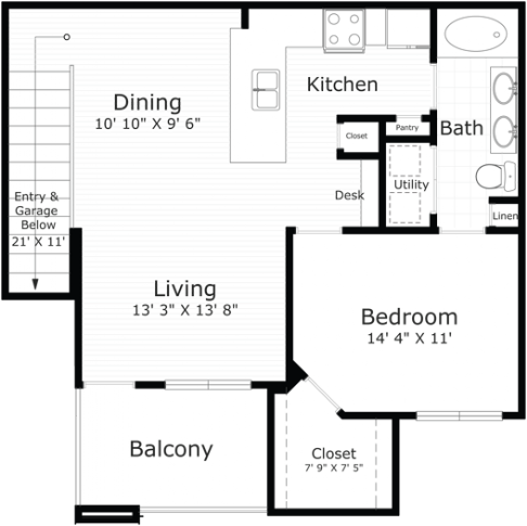 861 sq. ft. Cape Cod floor plan