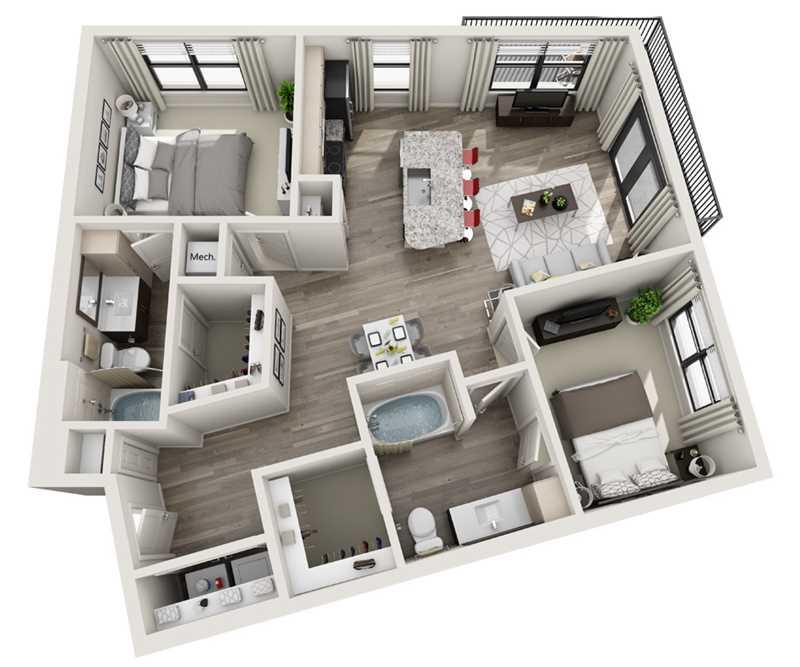 1,031 sq. ft. B5 floor plan
