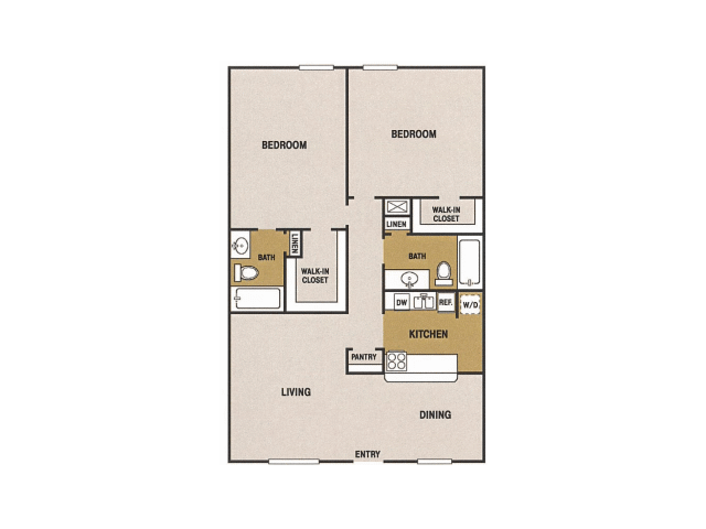 1,000 sq. ft. O floor plan