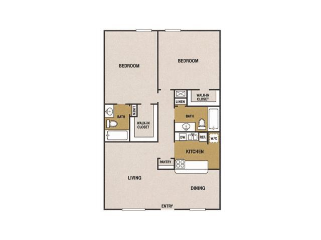 1,000 sq. ft. O floor plan