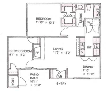 846 sq. ft. C floor plan