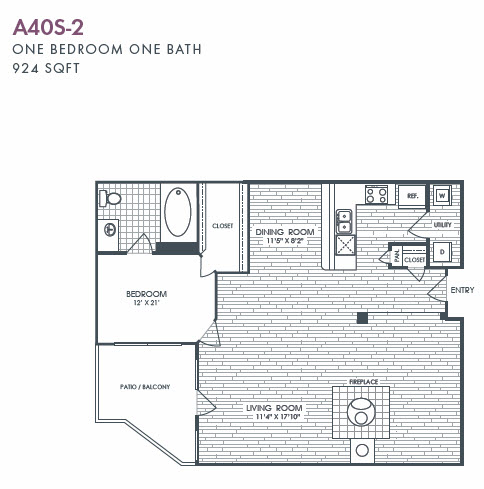 924 sq. ft. A40S-2 floor plan