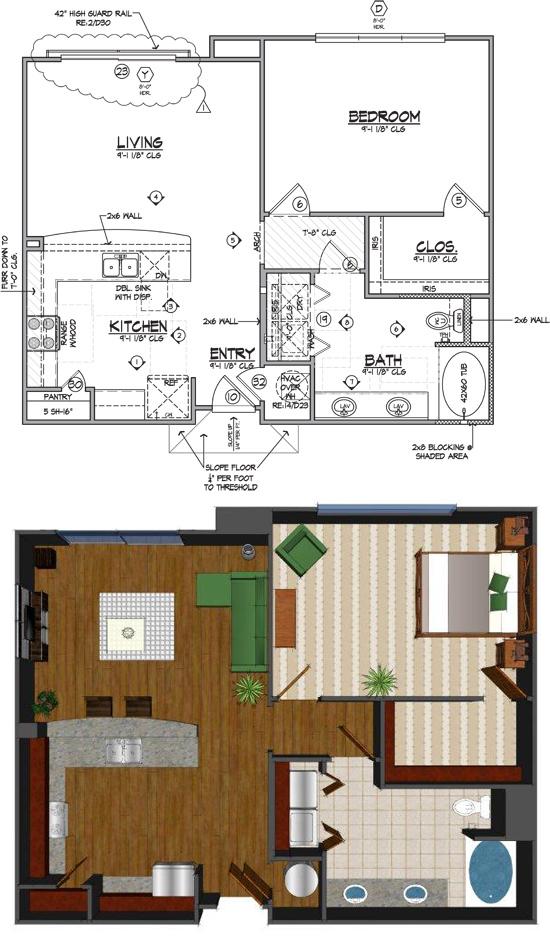 864 sq. ft. Cc floor plan
