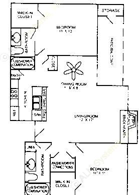 955 sq. ft. B-2 floor plan