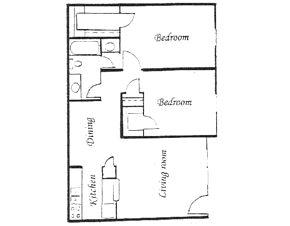884 sq. ft. floor plan