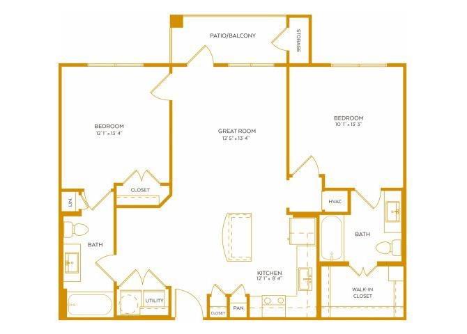 1,014 sq. ft. B1 floor plan