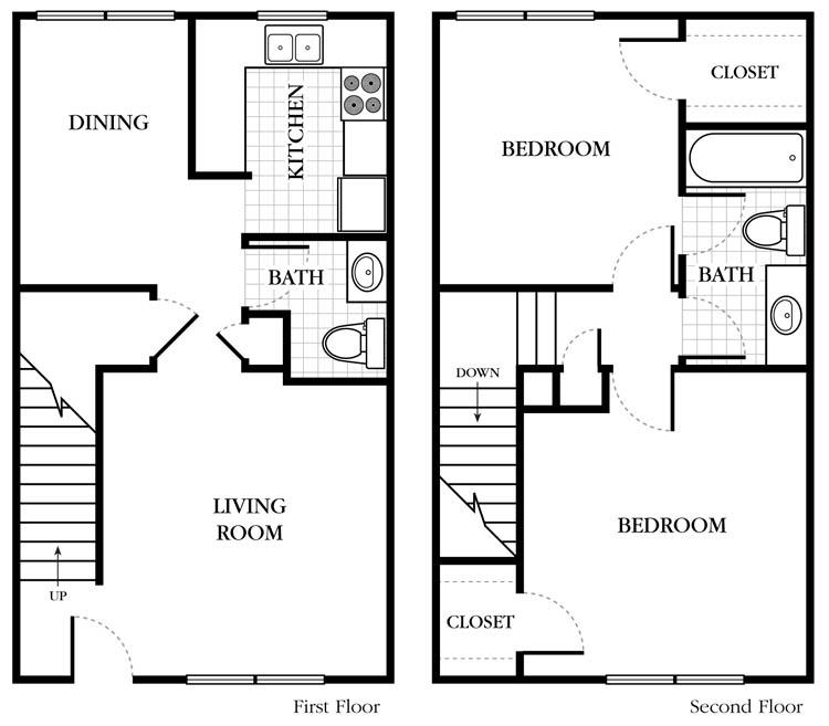1,088 sq. ft. floor plan