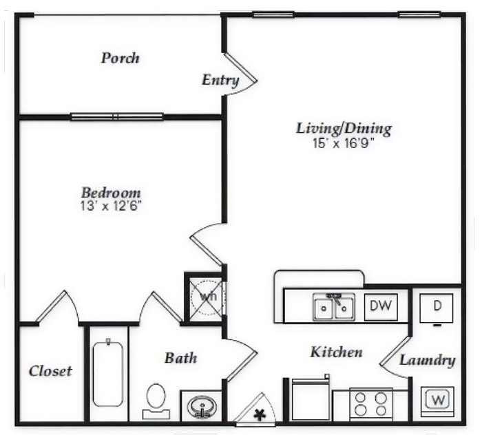 667 sq. ft. to 814 sq. ft. A1 floor plan