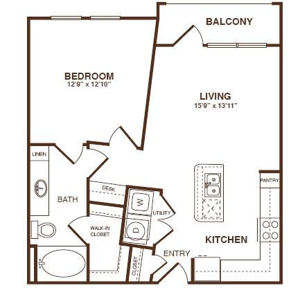 715 sq. ft. A2S floor plan