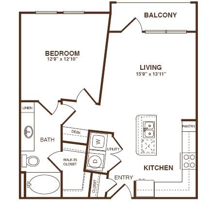 715 sq. ft. A2S floor plan