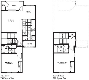 1,070 sq. ft. 50% floor plan