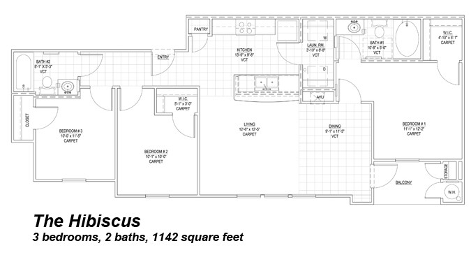 1,142 sq. ft. Hibiscus 30% floor plan