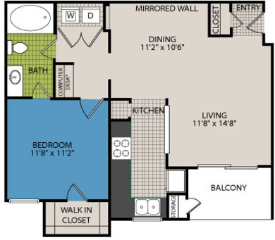 707 sq. ft. A2 floor plan