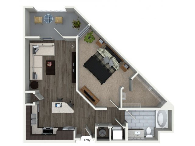 746 sq. ft. A2 floor plan
