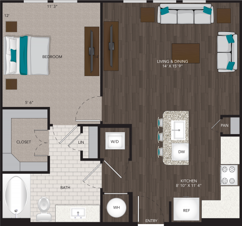 728 sq. ft. A11 floor plan