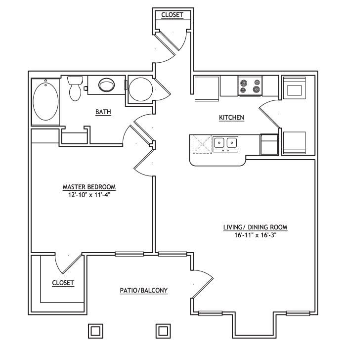 762 sq. ft. AA1 floor plan
