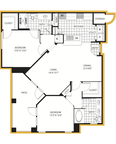 1,195 sq. ft. Florence floor plan