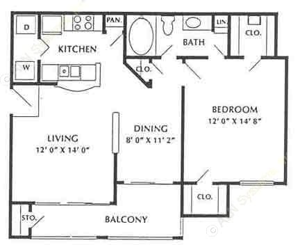 739 sq. ft. Quantico floor plan