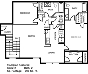 990 sq. ft. 50% floor plan