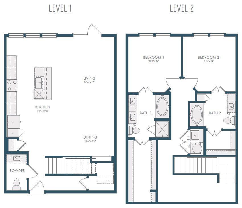 1,630 sq. ft. TH1 floor plan