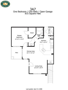 815 sq. ft. to 1,130 sq. ft. 3A7g floor plan