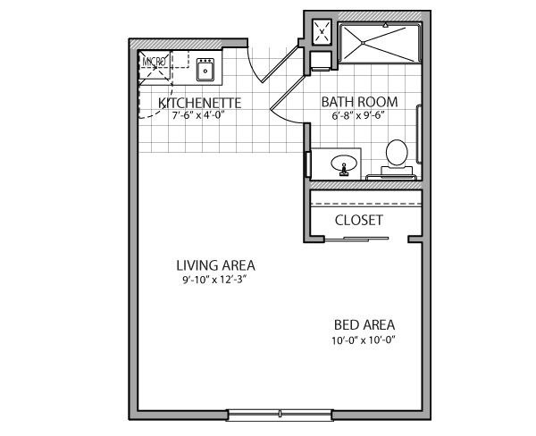 400 sq. ft. Verona Assist. floor plan