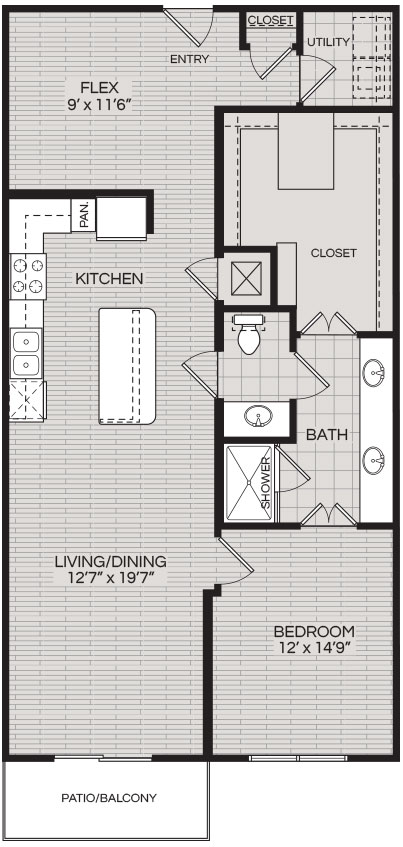 1,144 sq. ft. A2 floor plan