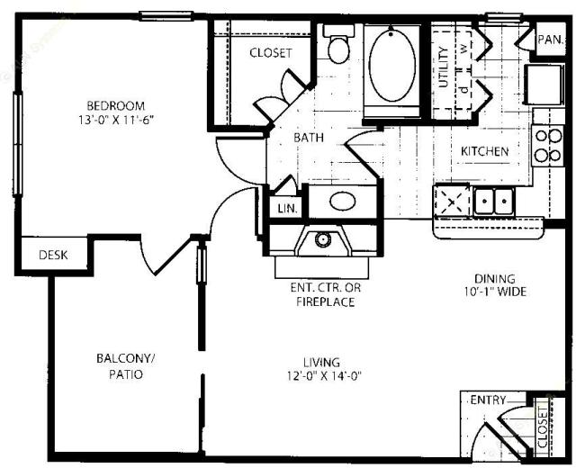 756 sq. ft. A1-HC floor plan