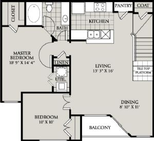 971 sq. ft. B1 floor plan