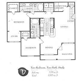 1,189 sq. ft. D floor plan