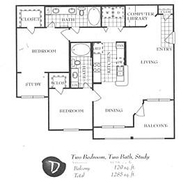 1,189 sq. ft. D floor plan