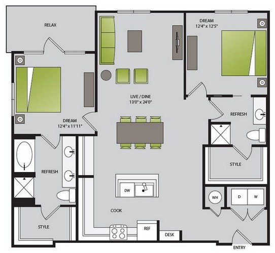 1,290 sq. ft. B2.1 floor plan