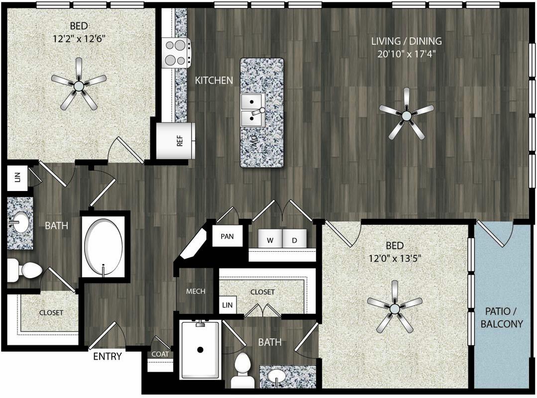 1,206 sq. ft. B6 floor plan