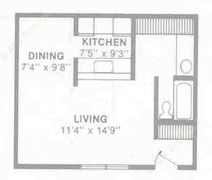504 sq. ft. E3 floor plan