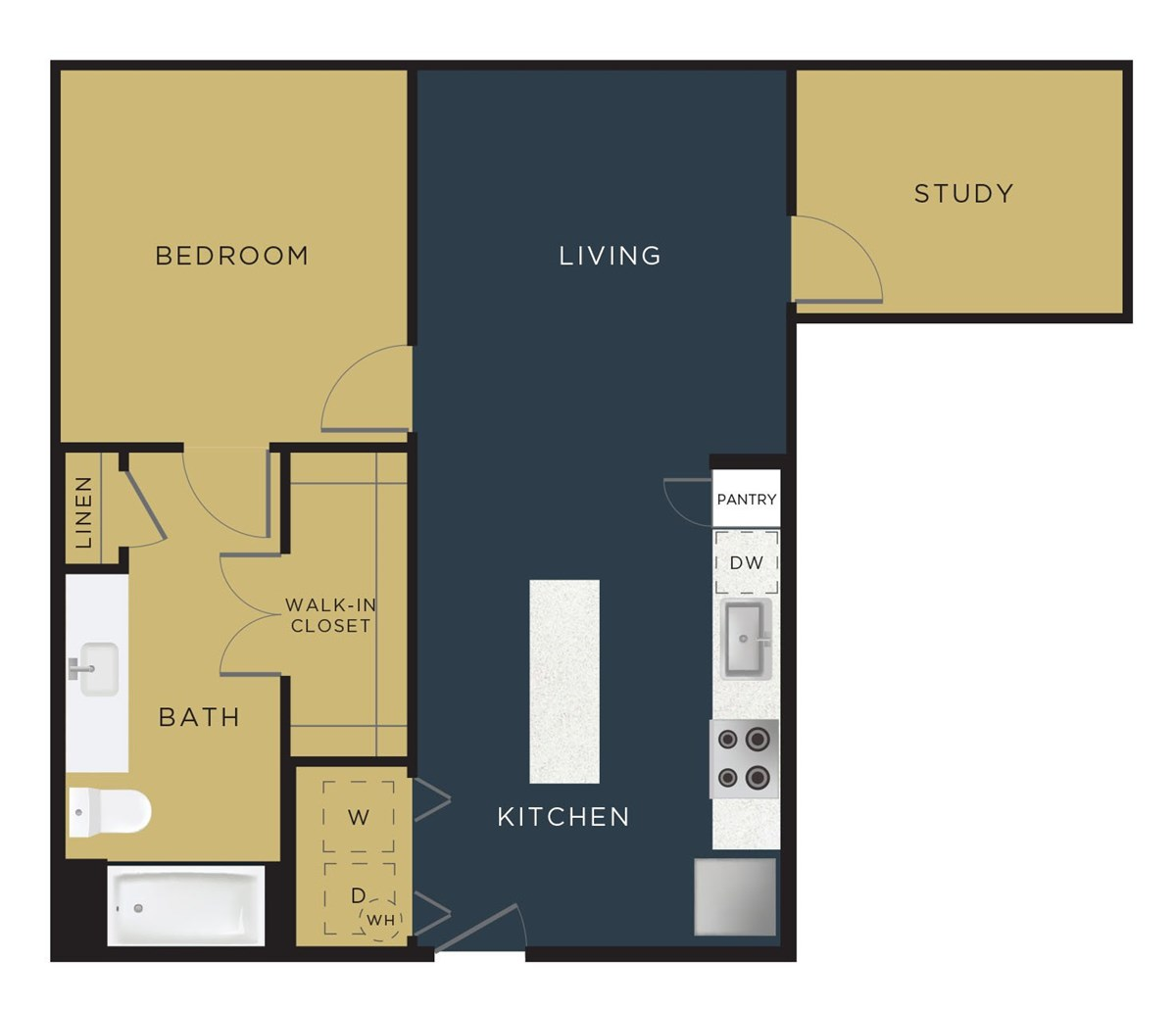797 sq. ft. A2-BS floor plan