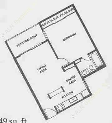 549 sq. ft. A4 floor plan