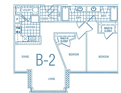 855 sq. ft. B2 30% floor plan