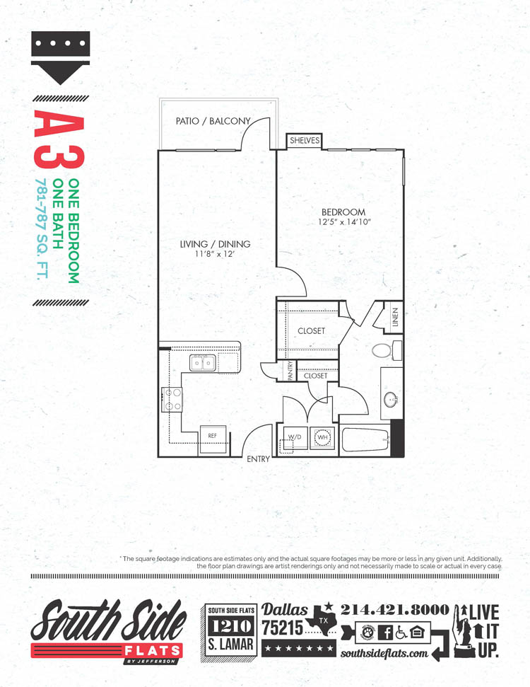 781 sq. ft. to 787 sq. ft. A3 floor plan