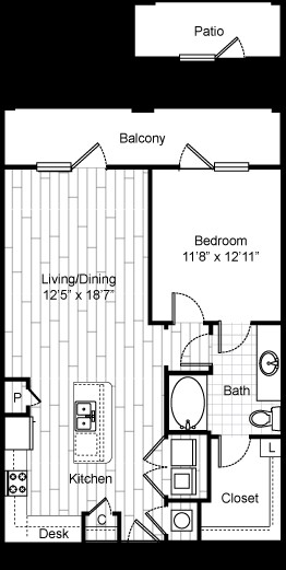 825 sq. ft. 11F5 floor plan