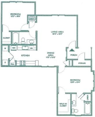 1,007 sq. ft. C floor plan