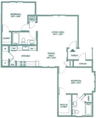 1,007 sq. ft. C floor plan