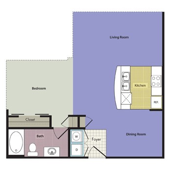 682 sq. ft. Milano floor plan