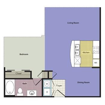 682 sq. ft. Milano floor plan
