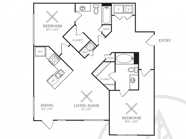 1,104 sq. ft. B2F floor plan